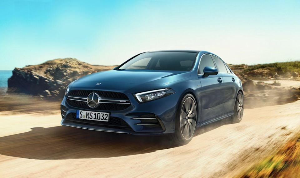 "<p>Aimed at young up-and-comers looking for a luxury ride with sporting aspirations, the <a href=""https://www.caranddriver.com/mercedes-amg/a35"" rel=""nofollow noopener"" target=""_blank"" data-ylk=""slk:2021 Mercedes-AMG A35"" class=""link rapid-noclick-resp"">2021 Mercedes-AMG A35</a> offers plenty of style, features, and performance for the money. The subtle slope of the roof and the gently curved beltline make this compact three-box look elegant and agile, particularly when parked beside the high-rumped <a href=""https://www.caranddriver.com/bmw/2-series-gran-coupe"" rel=""nofollow noopener"" target=""_blank"" data-ylk=""slk:BMW M235iGran Coupe"" class=""link rapid-noclick-resp"">BMW M235iGran Coupe</a>, one of its main competitors along with the Audi S3. The elegance continues inside, where everything looks thoroughly modern, with cabin-lining ambient lighting and a generously sized two-in-one touchscreen display for the instruments and infotainment system. Though it's the littlest car in the Mercedes lineup, in the U.S., the A35 sits atop the <a href=""https://www.caranddriver.com/mercedes-benz/a-class"" rel=""nofollow noopener"" target=""_blank"" data-ylk=""slk:A-class"" class=""link rapid-noclick-resp"">A-class</a> range with an AMG-enhanced turbocharged inline-four, good for 302 horsepower. If that doesn't do it for you, perhaps its slightly larger platform-mate, the <a href=""https://www.caranddriver.com/mercedes-amg/cla35-cla45"" rel=""nofollow noopener"" target=""_blank"" data-ylk=""slk:CLA"" class=""link rapid-noclick-resp"">CLA</a>, will; it can be had with a rowdy 382-hp four-cylinder.</p><p><a class=""link rapid-noclick-resp"" href=""https://www.caranddriver.com/mercedes-amg/a35"" rel=""nofollow noopener"" target=""_blank"" data-ylk=""slk:Review, Pricing, and Specs"">Review, Pricing, and Specs</a></p>"