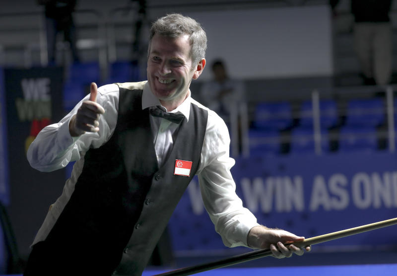 Singapore's Peter Gilchrist celebrates winning his sixth straight English billiards gold at the SEA Games. (PHOTO: Sport Singapore)