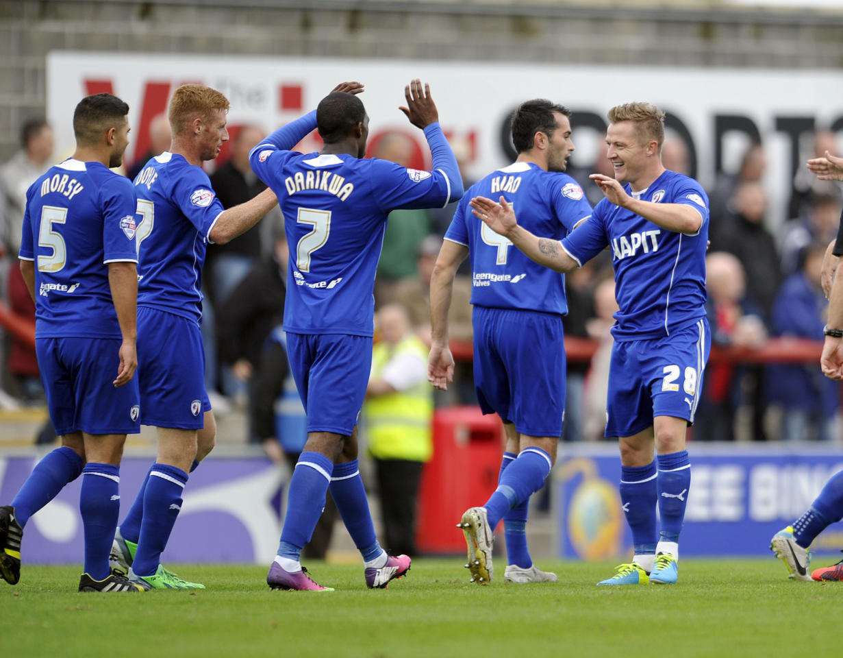 Chesterfield's Gary McSheffrey (Right) celebrates after he scores the second goal of the game during the Sky Bet League Two match at Globe Arena, Morecambe.