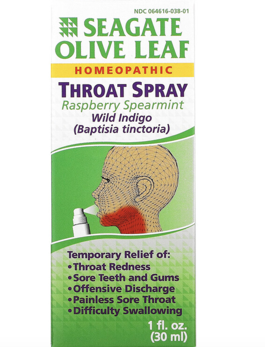 Seagate, Olive Leaf Throat Spray, Raspberry Spearmint. PHOTO: iHerb