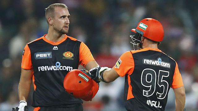 Josh Inglis and Liam Livingstone scored half-centuries as Perth Scorchers beat Melbourne Renegades by six wickets with an over to spare.