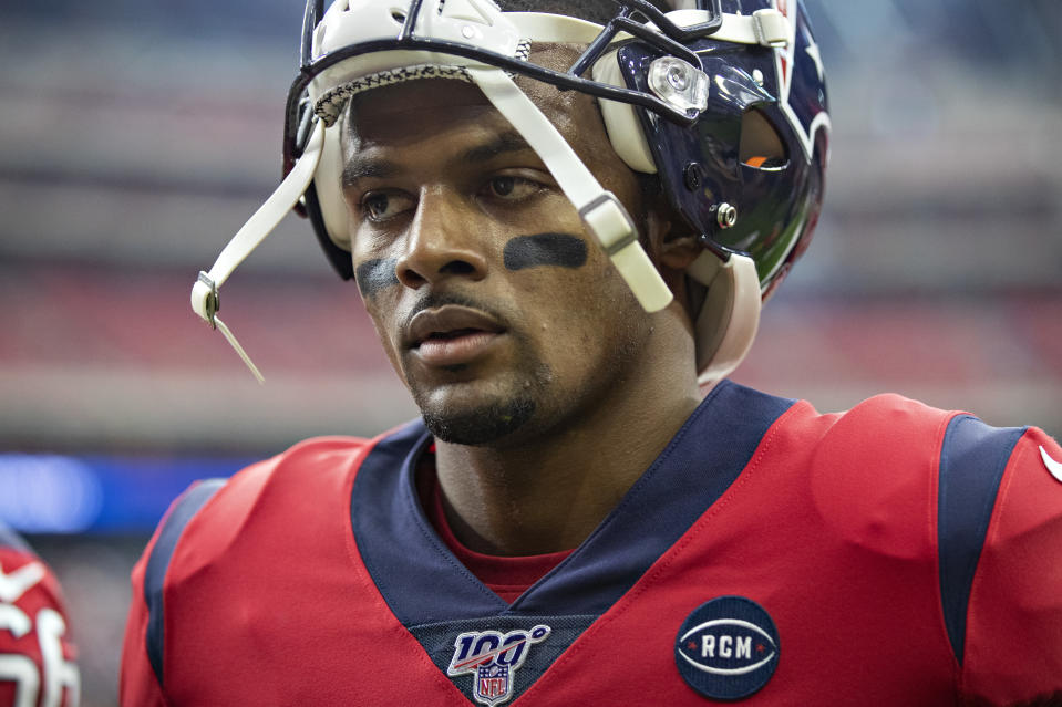HOUSTON, TX - DECEMBER 8:  Deshaun Watson #4 of the Houston Texans walks off the field before a game against the Denver Broncos at NRG Stadium on December 8, 2019 in Houston, Texas.  The Broncos defeated the Texans 38-24.  (Photo by Wesley Hitt/Getty Images)