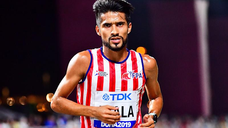 Derlys Ayala, pictured here during the marathon at the 2019 Athletics World Championships.