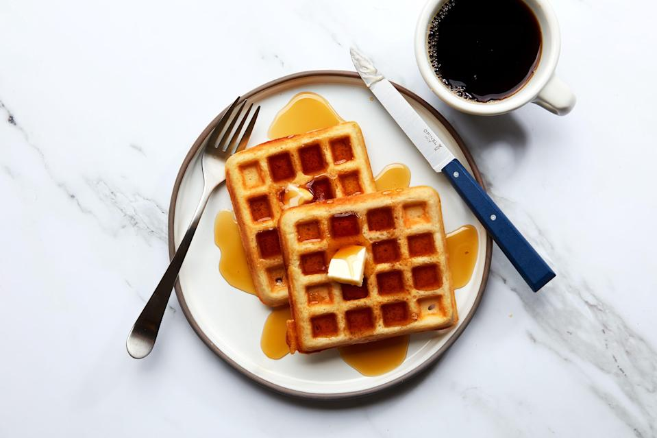 """After weeks of eating waffle after waffle, our staffer Joe Sevier settled on this recipe as the favorite. For more on <a href=""""https://www.epicurious.com/expert-advice/how-to-make-crispy-waffles-article?mbid=synd_yahoo_rss"""" rel=""""nofollow noopener"""" target=""""_blank"""" data-ylk=""""slk:how to make crispy waffles"""" class=""""link rapid-noclick-resp"""">how to make crispy waffles</a>, read about his journey. <a href=""""https://www.epicurious.com/recipes/food/views/belgian-style-yeast-waffles-king-arthur-baking-company?mbid=synd_yahoo_rss"""" rel=""""nofollow noopener"""" target=""""_blank"""" data-ylk=""""slk:See recipe."""" class=""""link rapid-noclick-resp"""">See recipe.</a>"""
