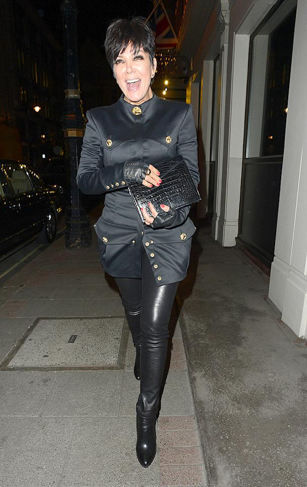 She may be keeping up with the Kardashians, but reality TV matriarch Kris Jenner certainly isn't keeping up with the freshest fashion trends. Leather fingerless gloves are so three years, and, even then, they were hideous. (4/2/2013)