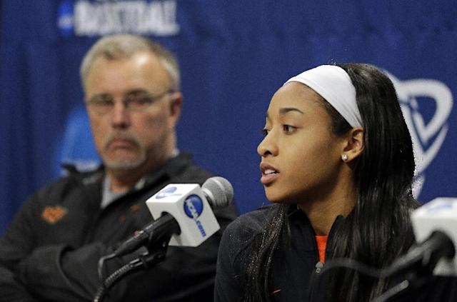 Oklahoma State guard Tiffany Bias, right, answers a question as head coach Jim Littell sits near during an NCAA college basketball tournament news conference in West Lafayette, Ind., Sunday, March 23, 2014. Oklahoma State faces Purdue in a second round game on Monday. (AP Photo/Michael Conroy)