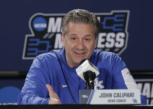 Kentucky head coach John Calipari talks to reporters during news conference at the NCAA men's college basketball tournament Friday, March 16, 2018, in Boise, Idaho. Kentucky faces Buffalo in a second-round game on Saturday. (AP Photo/Ted S. Warren)