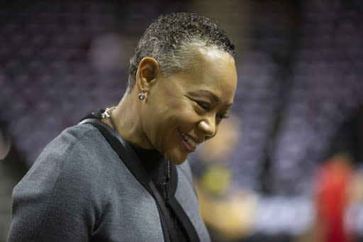 SEATTLE, WA - SEPTEMBER 09: WNBA President Lisa Borders talks with Seattle Storm players before Game 2 of the WNBA Finals against the Washington Mystics at KeyArena on September 9, 2018 in Seattle, Washington. (Photo by Lindsey Wasson/Getty Images)