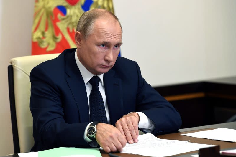Russia's President Putin attends a meeting outside Moscow