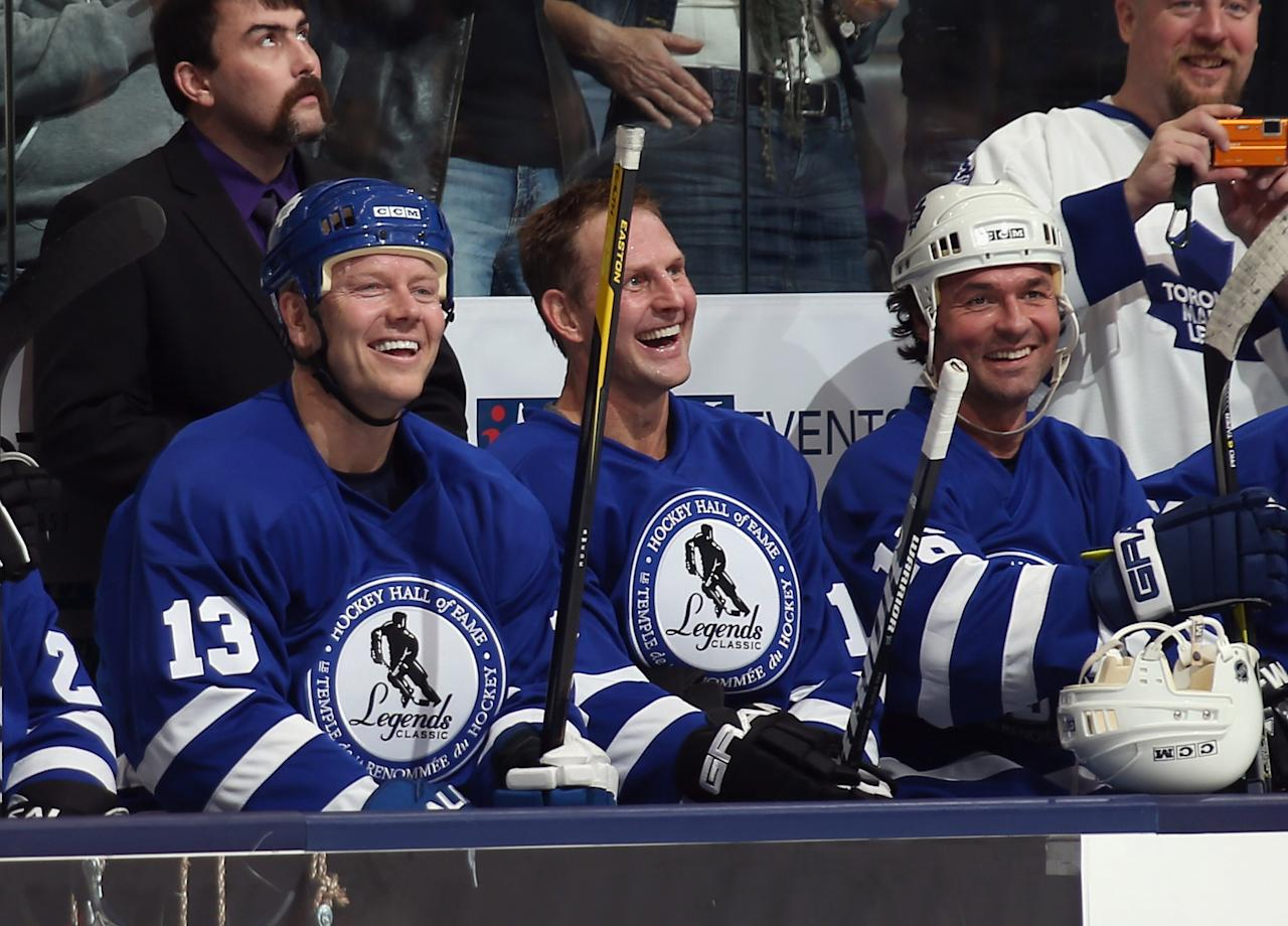 TORONTO, ON - NOVEMBER 11:  (L-R) Former Maple Leafs Mats Sundin, Gary Roberts, and Darcy Tucker play in the Hockey Hall of Fame Legends Game at the Air Canada Centre on November 11, 2012 in Toronto, Canada. Sundin will be the second Swedish born player inducted into the Hall on November 12.  (Photo by Bruce Bennett/Getty Images)
