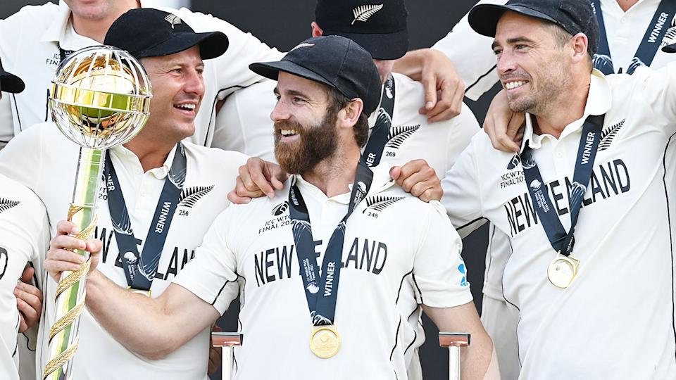 Kane Williamson, pictured here holding the Test Championship mace.