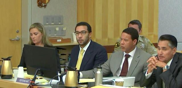 Kellen Winslow sits in court with his legal team as Jane Doe 3 testifies. (CourtTV)