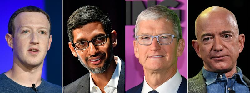 (COMBO) This combination of pictures created on July 07, 2020 shows (L-R) Facebook CEO Mark Zuckerberg in Paris on May 23, 2018, Google CEO Sundar Pichai Berlin on January 22, 2019, Apple CEO Tim Cook on October 28, 2019 in New York and Amazon Founder and CEO Jeff Bezos in Las Vegas, Nevada on June 6, 2019. (Photos by AFP) (Photo by BERTRAND GUAY,TOBIAS SCHWARZ,ANGELA WEISS,MARK RALSTON/AFP via Getty Images)