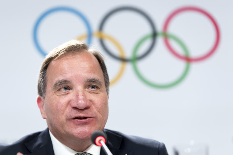 Sweden's Prime Minister Stefan Lofven speaks during a press conference of the Stockholm-Are candidate cities the first day of the 134th Session of the International Olympic Committee (IOC), at the SwissTech Convention Centre, in Lausanne, Switzerland, Monday, June 24, 2019. The host city of the 2026 Olympic Winter Games will be decided during the134th IOC Session. Stockholm-Are in Sweden and Milan-Cortina in Italy are the two candidate cities for the Olympic Winter Games 2026. (Laurent Gillieron/Keystone via AP)