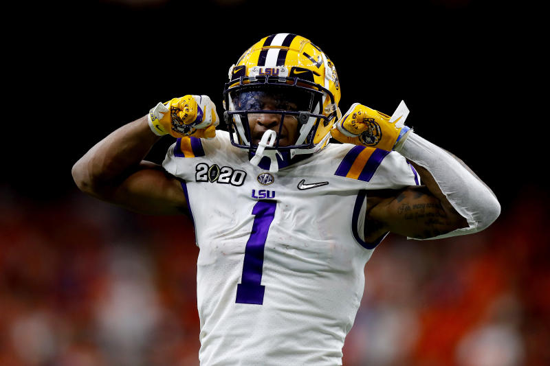LSU's Ja'Marr Chase has opted out of the 2020 college football season, and it doesn't appear to be COVID-related. (Photo by Jonathan Bachman/Getty Images)