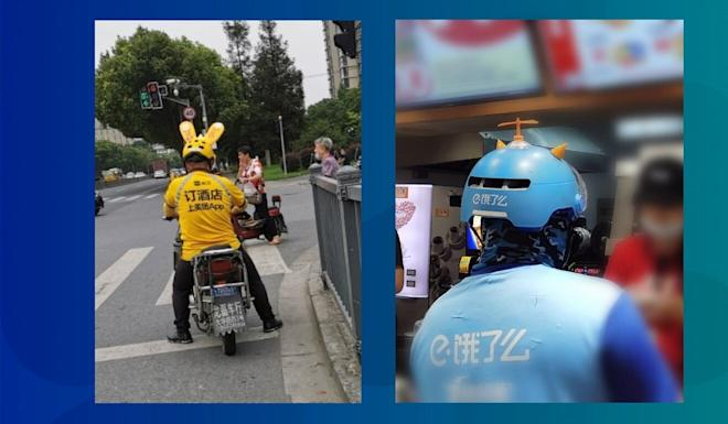 Chinese netizens share photos of Meituan Dianping (left) and Ele.me (right) drivers at work in July 2020. Photo: Weibo