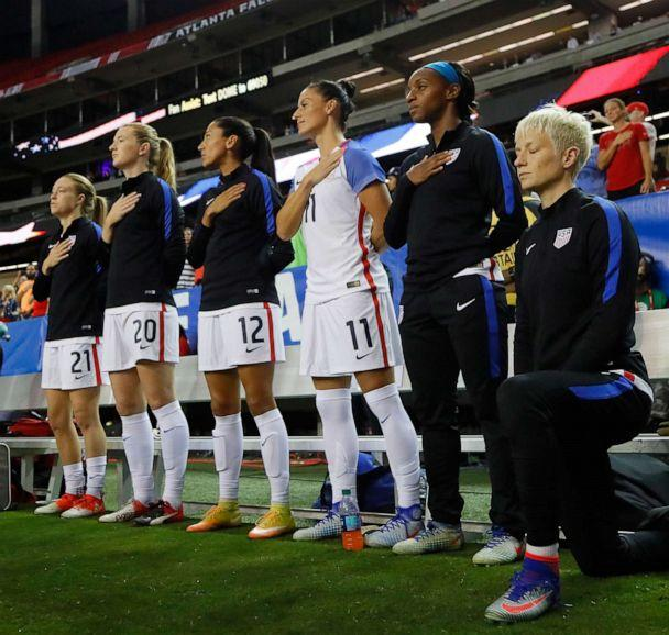 PHOTO:Megan Rapinoe #15 kneels during the National Anthem prior to the match between the United States and the Netherlands at Georgia Dome, Sept. 18, 2016, in Atlanta. (Kevin C. Cox/Getty Images, FILE)