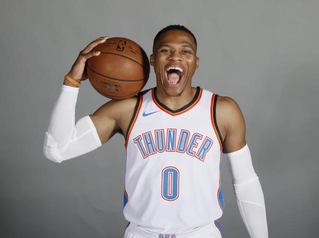 "<a class=""link rapid-noclick-resp"" href=""/nba/players/4390/"" data-ylk=""slk:Russell Westbrook"">Russell Westbrook</a> signed the most lucrative contract in NBA history. (AP)"