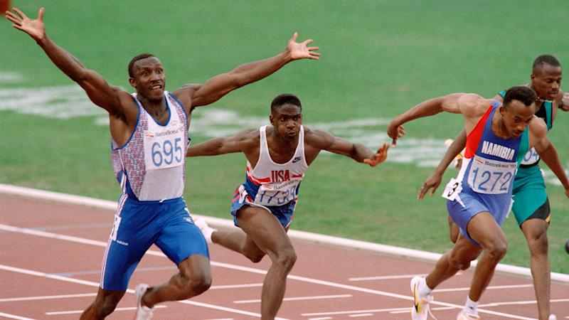 Linford Christie winning gold at the 100m during the 1992 Barcelona Olympics (Getty Images)