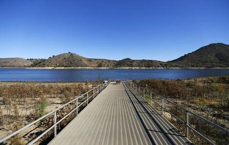 Receding water line of Lake Hodges is seen in San Diego County