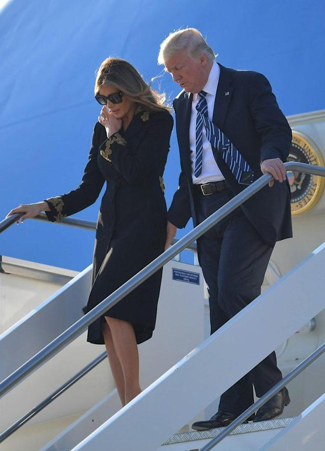 Donald and Melania Trump step off <em> Air Force One</em> in Italy. (Photo: Getty Images)