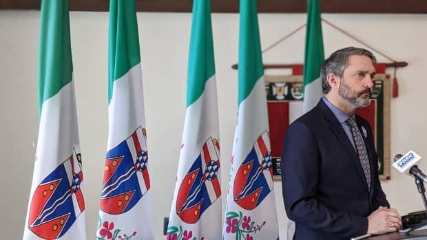 Premier Sandy Silver speaks to reporters in Whitehorse in a March 2021 file photo. The Yukon released its vaccine certification system Tuesday. (Chris Windeyer/CBC - image credit)
