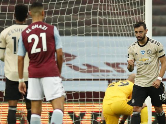 Bruno Fernandes won and scored a first-half penalty at Villa Park (2020 Pool)
