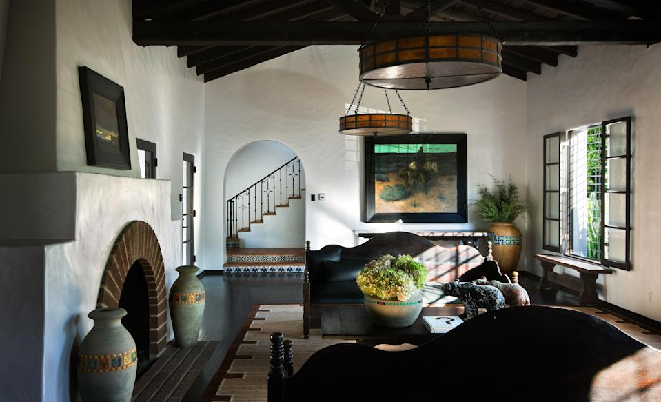 """Shadley counts Diane Keaton as one of his closest friends, and five of her homes are featured in his book. Their fifth collaboration was this Spanish Colonial, whose living room is seen here. """"It had been designed by Ralph Flewelling in the 1920s and Diane's purchase of it in 2006 was the second time around,"""" Shadley writes. """"We'd seen it years before and she'd even made an offer. But another house caught her attention and she backed out of the deal. When it came back on the market three years later, she had no second thoughts."""""""