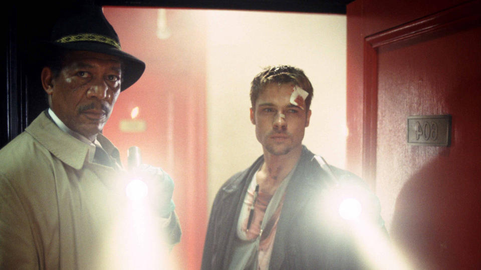 Morgan Freeman and Brad Pitt in serial killer thriller 'Seven'. (Credit: New Line Cinema)