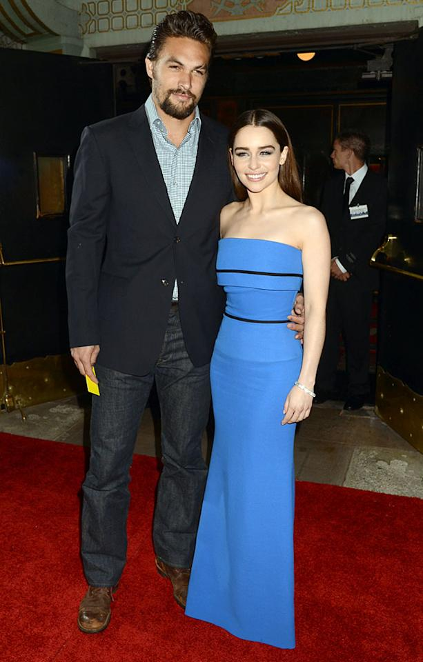 "Emilia Clarke stunned in a floor-length blue gown at Monday night's Season 3 premiere of HBO's <a href=""http://tv.yahoo.com/shows/game-of-thrones/"">""Game of Thrones""</a> at TCL Chinese Theatre in Hollywood, California. She was also flashing those pearly whites as she reunited with her onscreen husband, the hunky Jason Momoa -- whose ""Game of Thrones"" character, Dothraki warlord Khal Drogo, died from an infection in the Season 2 finale.<br /><br /> Emilia Clarke, who plays dragon mother Daenerys Targaryen in the medieval-fantasy series, is occupying her break from the epic drama with something, well, a little lighter -- Golightly, to be specific. Clarke was cast as Holly Golightly in a Broadway adaptation of Truman Capote's 1958 classic, ""Breakfast at Tiffany's."" The move shouldn't be too much of a stretch for Clarke, though, who is a 2009 graduate of the Drama Centre School in London. ""Breakfast at Tiffany's"" kicks off at New York's Cort Theatre on March 20, and tickets are available through Sept. 1.<br /><br /> As for her personal life, word has it that Clarke recently parted ways with ""Family Guy"" funnyman Seth MacFarlane. Clarke, 25, and MacFarlane, 39, were first seen getting close at an Emmys' afterparty last September. A source told E! News, ""It was really a location challenge. She has been in Europe shooting 'Game of Thrones,' and he is based in California, so it was hard to make it work despite the distance. They have remained friends."""