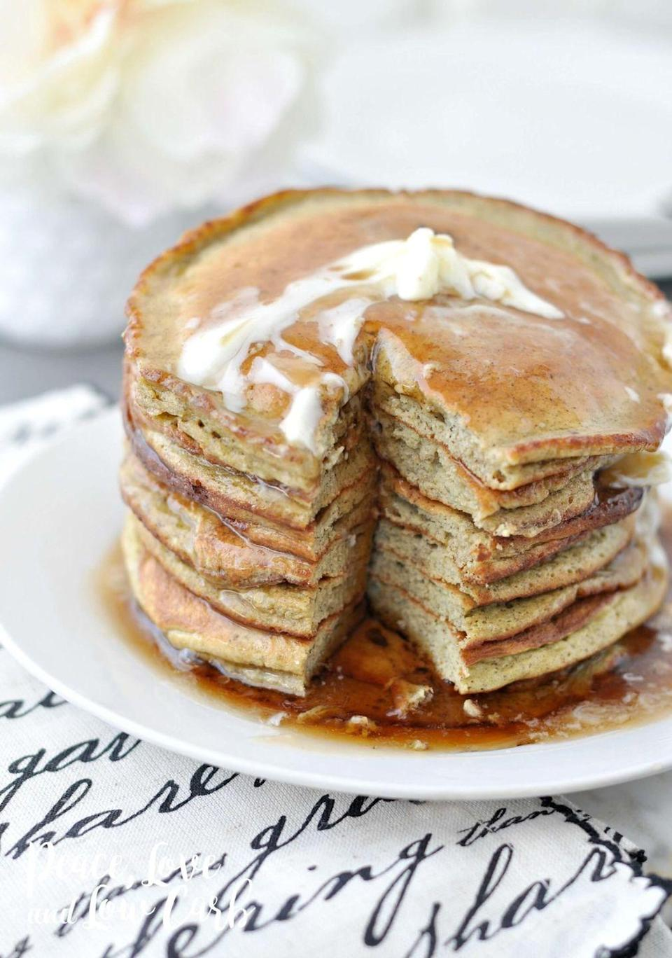 """<p>This low-carb, high-flavor stack is brunch- and Monday-worthy.</p><p><a class=""""link rapid-noclick-resp"""" href=""""https://peaceloveandlowcarb.com/low-carb-keto-banana-nut-protein-pancakes/"""" rel=""""nofollow noopener"""" target=""""_blank"""" data-ylk=""""slk:GET THE RECIPE"""">GET THE RECIPE</a> </p><p><em>Per serving: 85 calories, 5.4 g fat, 1.8 g carbs, 1 g fiber, 7.4 g protein</em><br></p>"""