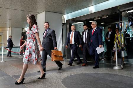 Turkish Deputy Foreign Minister Sedat Onal (2nd L) leaves after a meeting with U.S. Deputy Secretary of State John Sullivan at State Department in Washington, U.S., August 8, 2018. REUTERS/Yuri Gripas