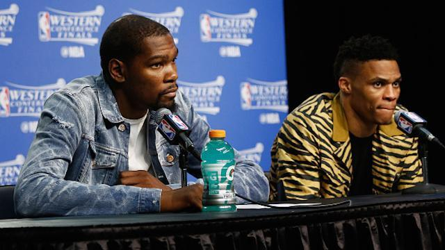 """To think this glowing relationship between <a class=""""link rapid-noclick-resp"""" href=""""/nba/players/4244/"""" data-ylk=""""slk:Kevin Durant"""">Kevin Durant</a> and <a class=""""link rapid-noclick-resp"""" href=""""/nba/players/4390/"""" data-ylk=""""slk:Russell Westbrook"""">Russell Westbrook</a> won't ever be the same. (J. Pat Carter/Getty Images)"""