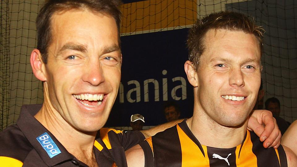 Alastair Clarkson and Sam Mitchell won multiple premierships together as coach and player. (Photo by Quinn Rooney/Getty Images)