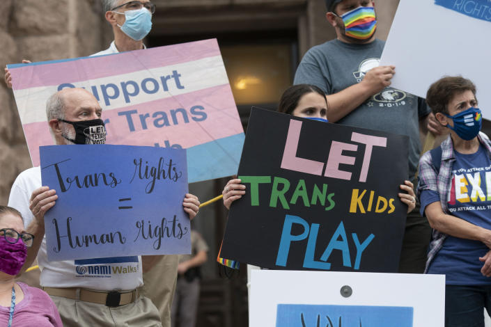 Transgender youth, parents and several Democratic lawmakers rally at the south steps of the Texas Capitol to criticize several anti-transgender bills. (Bob Daemmrich/ZUMA Wire)