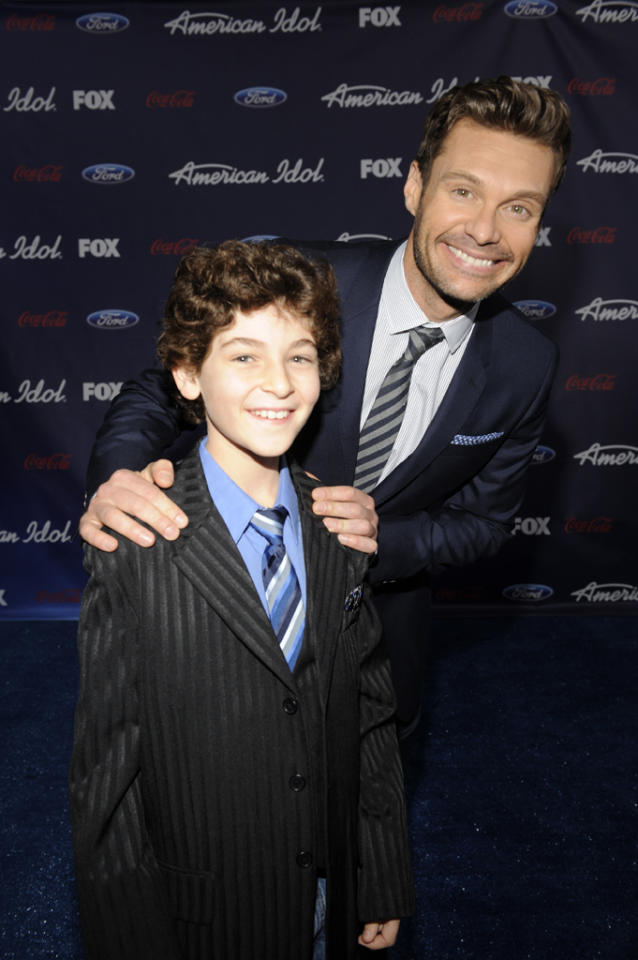 "David Mazouz of ""<a href=""http://tv.yahoo.com/show/47812/"">Touch</a>"" and Ryan Seacrest attend the Season 11 ""<a href=""http://tv.yahoo.com/american-idol/show/34934"">American Idol</a>"" Top 13 Finalists Party on Thursday, March 1 at The Grove in Los Angeles, CA."