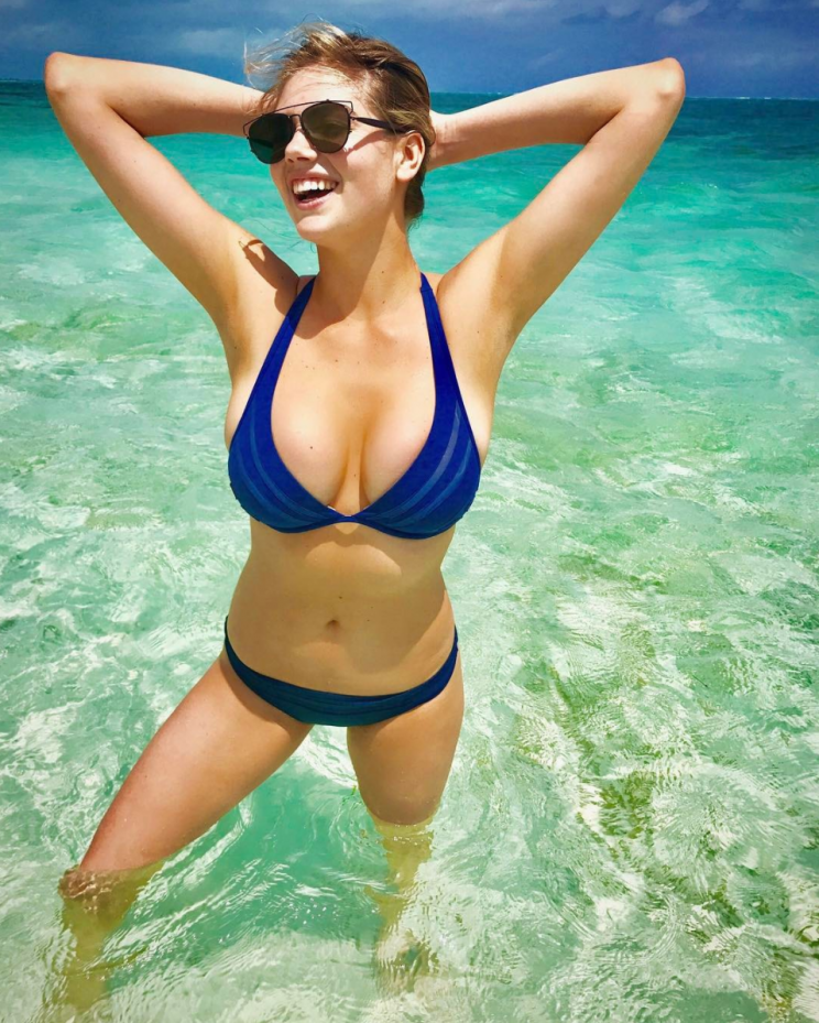 Kate Upton healthy living tips with Yahoo Styles. Here she is pictured in a blue bikini.