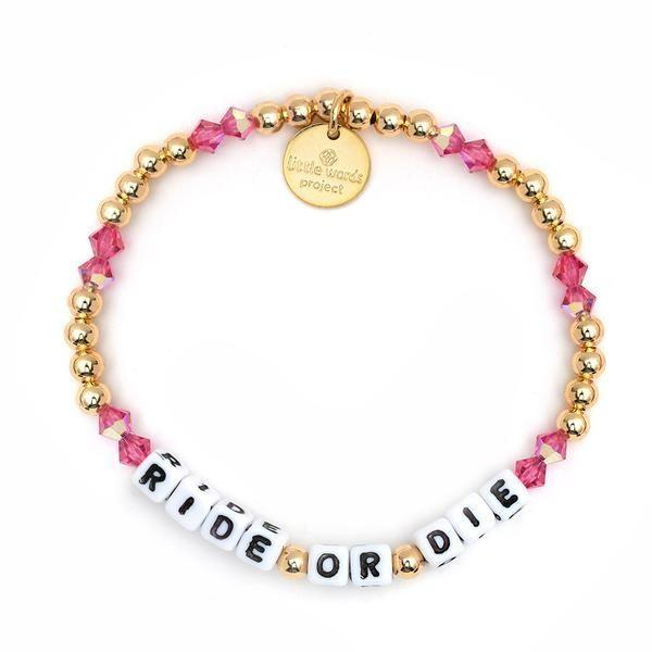 """<p>Little Words Project </p><p><strong>$30.00</strong></p><p><a href=""""https://littlewordsproject.com/products/ride-or-die-gold-filled-crystal?_pos=1&_sid=cac5ab720&_ss=r"""" rel=""""nofollow noopener"""" target=""""_blank"""" data-ylk=""""slk:Shop Now"""" class=""""link rapid-noclick-resp"""">Shop Now</a></p><p>The '90s called and yes, friendship bracelets are absolutely back. </p>"""