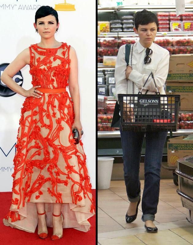 Emmy Awards: Ginnifer Goodwin was a vibrant vision in an orange floral embroidered Monique Lhuillier gown. Day after: Ginnifer Goodwin goes grocery shopping in Los Angeles, California