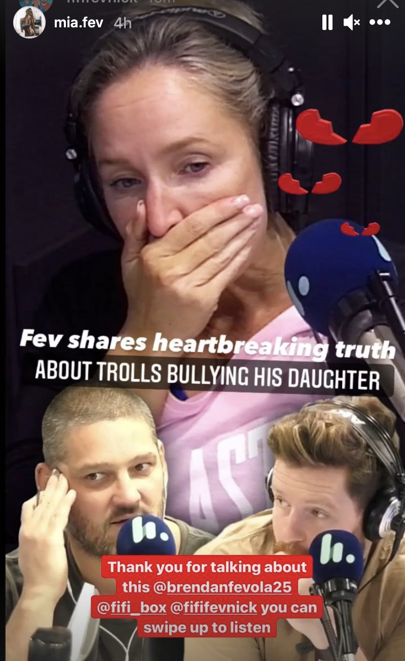 Mia Fevola shared a clip of her step-dad Brendan defending her after she was subjected to online abuse, following the reveal of her relationship with AFL player Jamarra Ugle-Hagan. Picture: instagram