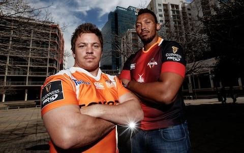 "Cheetahs hooker Torsten van Jaarsveld and Kings lock Lubabalo ""Giant"" Mtyanda - Credit: INPHO"