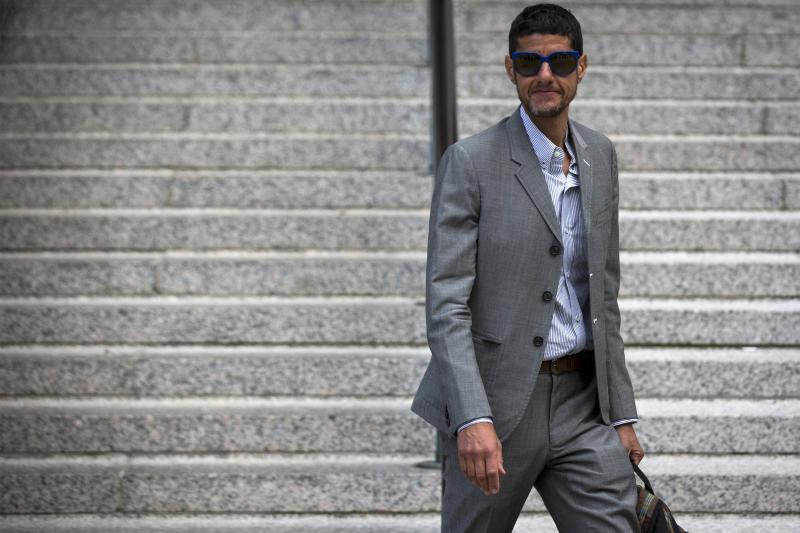 """Beastie Boys member Michael Diamond, or """"Mike D,"""" exits the U.S. District Court for the Southern District of New York in Lower Manhattan"""