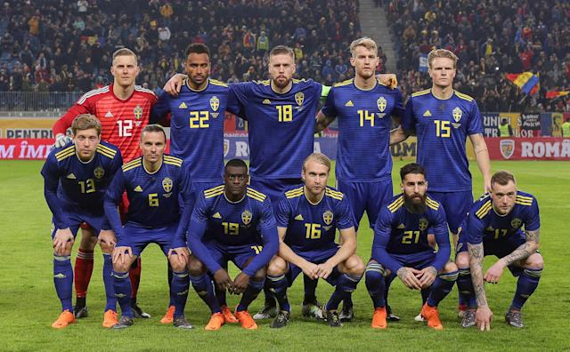 Soccer Football - International Friendly - Romania vs Sweden - National Arena, Craiova, Romania - March 27, 2018 Sweden players pose for a team group photo before the match Inquam Photos/Octav Ganea via REUTERS ROMANIA OUT. NO COMMERCIAL OR EDITORIAL SALES IN ROMANIA THIS IMAGE HAS BEEN SUPPLIED BY A THIRD PARTY. IT IS DISTRIBUTED, EXACTLY AS RECEIVED BY REUTERS, AS A SERVICE TO CLIENTS