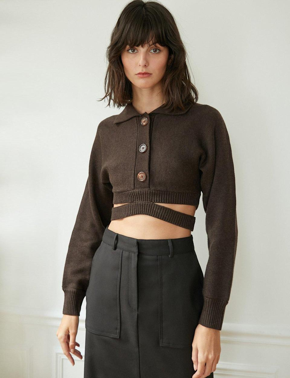 """Consider this fall's answer to the midriff-flossing trend you saw everywhere this summer. $119, Pixie Market. <a href=""""https://www.pixiemarket.com/collections/sweaters-knits/products/cruz-brown-crop-cardigan"""" rel=""""nofollow noopener"""" target=""""_blank"""" data-ylk=""""slk:Get it now!"""" class=""""link rapid-noclick-resp"""">Get it now!</a>"""