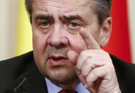 German Foreign Minister Gabriel attends a news conference in Moscow