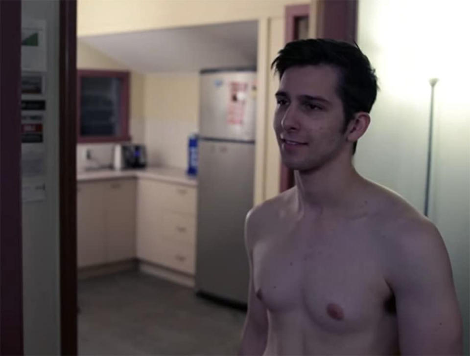 Beauty and the Geek contestant George Goldfeder is shirtless in a still from the short film, Consequence. Photo: Consequence (directed by Peter Michael).