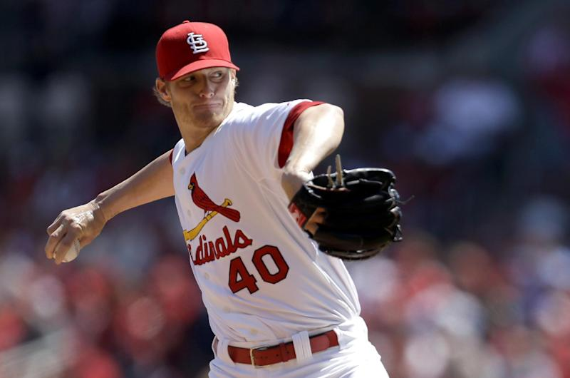 St. Louis Cardinals starting pitcher Shelby Miller throws during the first inning of a baseball game against the Cincinnati Reds Wednesday, April 9, 2014, in St. Louis. (AP Photo/Jeff Roberson)