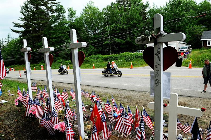 In this July 6, 2019, file photo, motorcyclists participate in a ride in Randolph, N.H., to remember seven bikers killed there in a collision with a pickup truck in June. State transportation officials in Massachusetts are expected to be questioned during a legislative oversight hearing on Monday, July 22, 2019, in Boston, about the Registry of Motor Vehicles' failure to suspend the commercial license of the truck driver charged in the crash that killed the seven motorcyclists in New Hampshire.