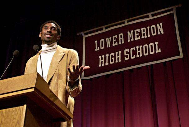 PHOTO: File - Los Angeles Lakers' Kobe Bryant speaks at Lower Merion High School in Ardmore, Pa. on Jan. 26, 2002, where Bryant's high school jersey, number 33, was retired during a ceremony. (Douglas M. Bovitt/AP)