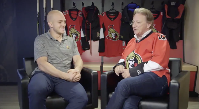Ottawa Senators defenceman Mark Borowiecki (left) sat down for a little chat with team owner Eugene Melnyk (right) that was released on the team's Twitter page last night.